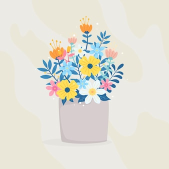 Bucket full contains various kinds of flowers