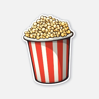 Bucket full of popcorn red and white striped paper cup vector illustration