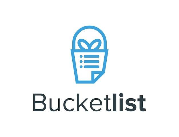 Bucket gift and list outline simple sleek creative geometric modern logo design