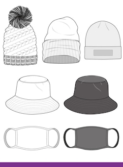 Bucket hat beanie mask set fashion flat technical drawing vector template