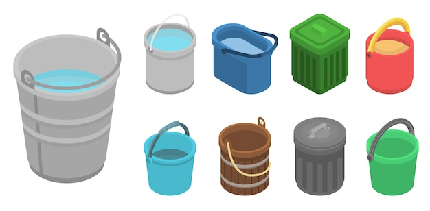Bucket icon set. isometric set of bucket vector icons for web design isolated on white background