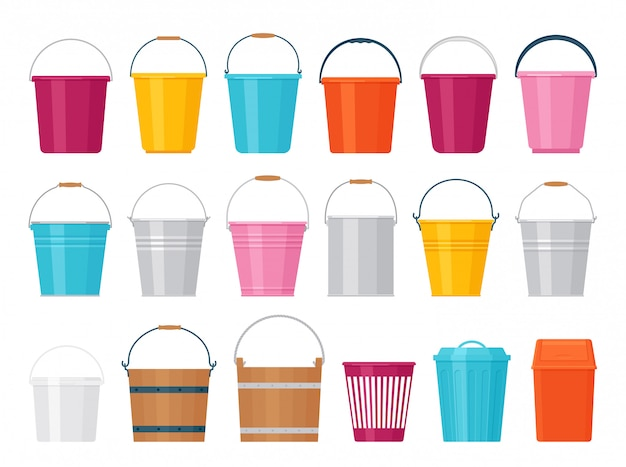 Bucket.  illustration. flat . plastic, metal, wood pail.