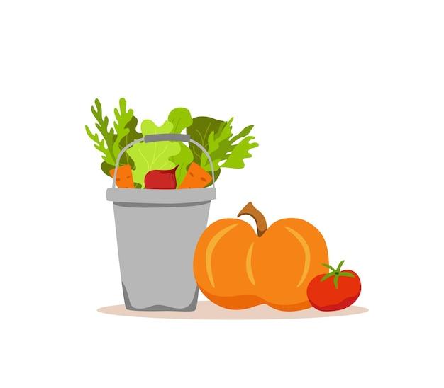 Ведро металлические овощи красочный мультфильм векторные иллюстрации. концепция рынка вегетарианского питания лук, тыква, помидоры, морковь, салат и другие продукты. пакет доставки урожая органической здоровой пищи