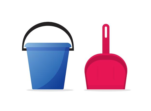 掃除用ダストツールを家庭用にするためのバケツペールとちりとりシャベル