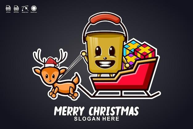 バケットそりライドメリークリスマスかわいいマスコットキャラクターロゴデザイン