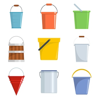Bucket types container icons set vector isolated