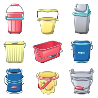 Bucket types container icons set
