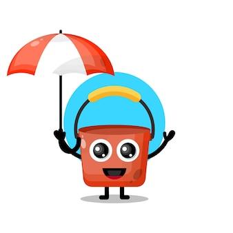 양동이 우산 귀여운 캐릭터 마스코트