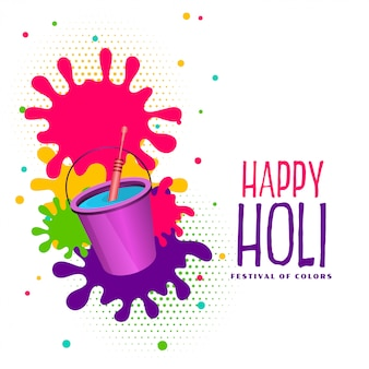 Bucket of watercolor and splashes happy holi background