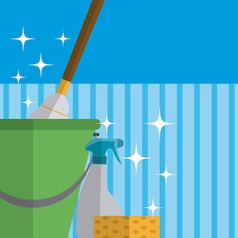 Bucket with mop and splash over blue striped background