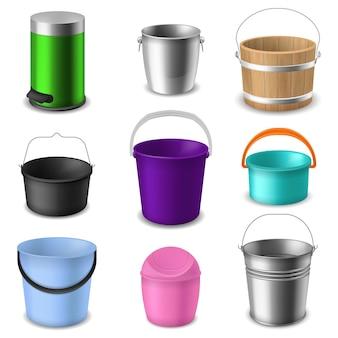 バケットコレクション。液体やゴミ、庭や家庭用コンテナの現実的なベクトル分離セットのさまざまな種類のハンドルで空の丸いプラスチック、木製または金属のバケツ一杯の色