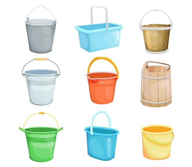 Buckets illustrations set