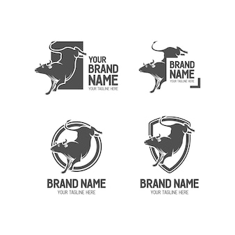 Bucking bull of bullfighter logo set