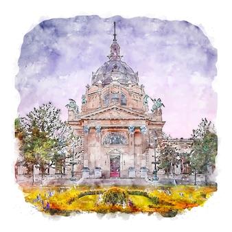 부다페스트 헝가리 수채화 스케치 손으로 그린 그림