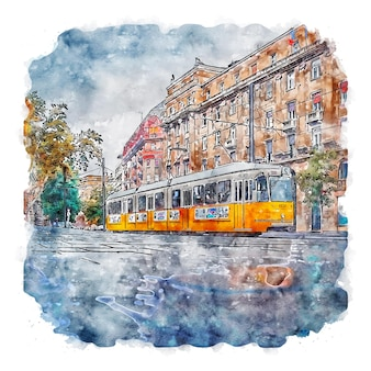Budapest hungary watercolor sketch hand drawn illustration