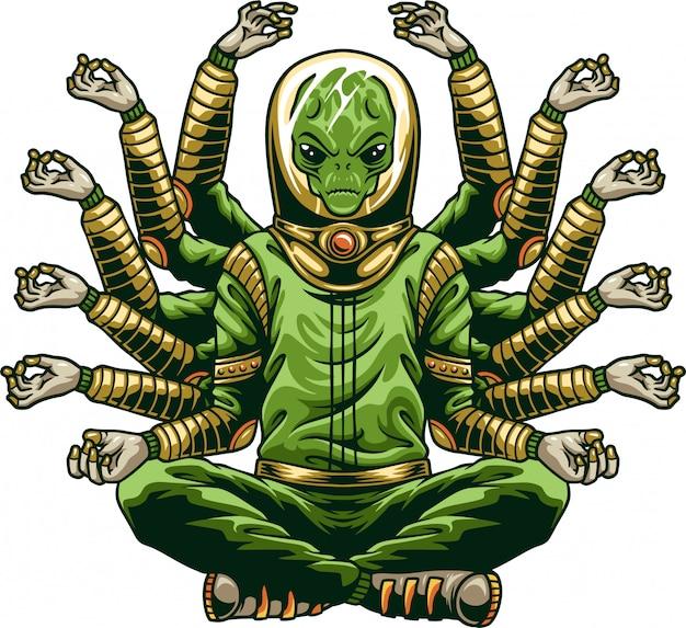 Инопланетянин будда занимается йогой