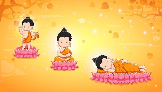Buddha birth enlighten and nirvana with thai calligraphy visakha puja day design