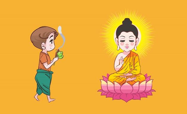 Buddha and boy thai cartoon