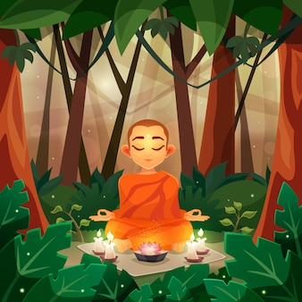 Buddha flat illustration