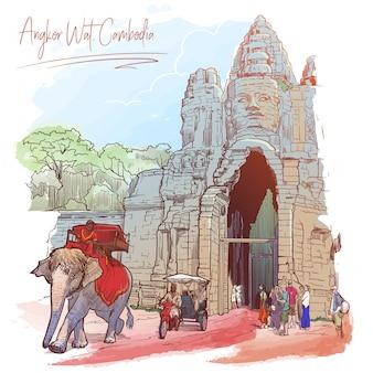 Ворота будды в ангкор-ват, камбоджа. расписной эскиз.