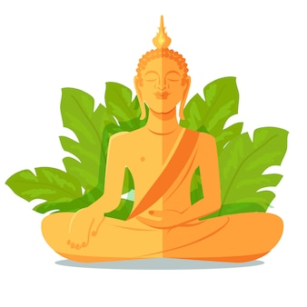 Buddha golden statue in front of green big leaves
