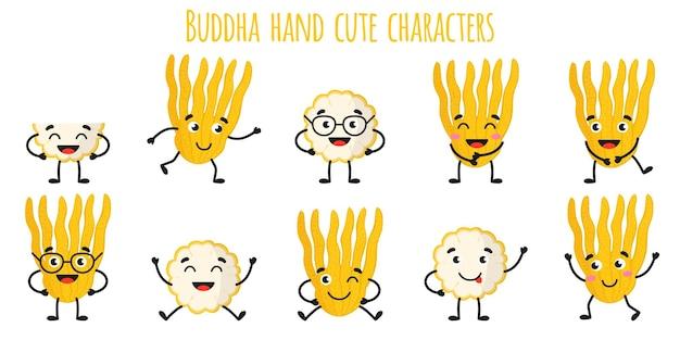 Рука будды цитрусовые милые веселые веселые персонажи с разными позами и эмоциями.