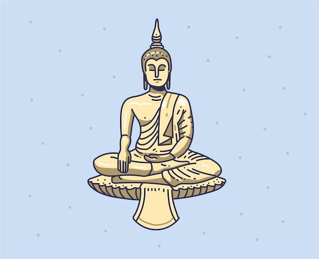 Будда рисованной иллюстрации