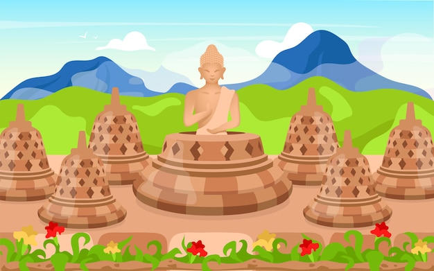 Иллюстрация будды. религиозная скульптура. место поклонения в горах. медитирующая поза. индонезийская религия. буддизм. боробудур мультфильм фон