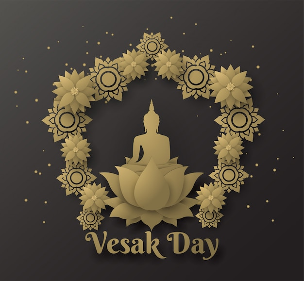 Buddha on lotus happy vesak day background with leaf lotus