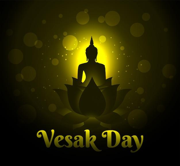 Buddha on lotus happy vesak day background