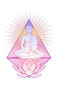 Buddha meditating in the single lotus position. hexagram representing anahata chakra in yoga on a background.