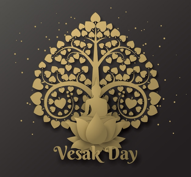 蓮の木仏菩提樹と幸せなvesak日の背景