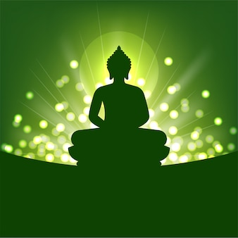 仏のシルエットと仏教の抽象的な光