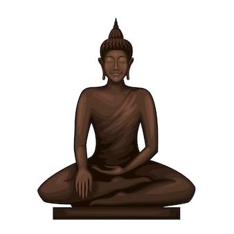 瞑想に座っている仏。女神像。