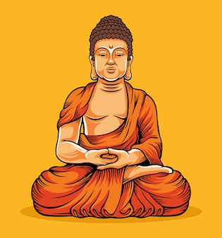 仏陀の金の像に座っている仏