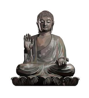 Статуя будды из всплеск акварели, цветной рисунок.