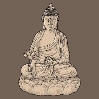 Buddha statue, hand drawn illustration, isolated vector
