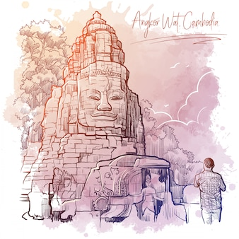 Buddha temple in angkor wat, cambodia. linear sketch on a watercolor textured background.. vintage design.