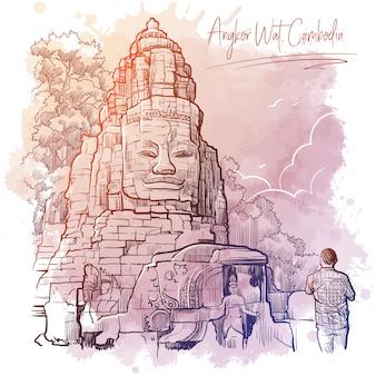 カンボジアのアンコールワットの大仏。水彩テクスチャ背景の線形スケッチ。ビンテージデザイン。
