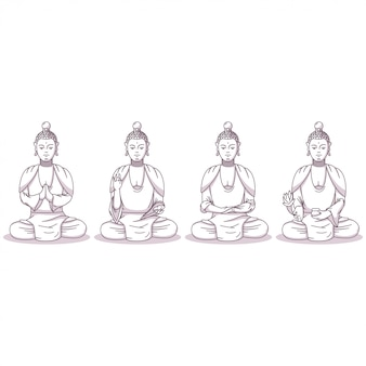Buddha vector cartoon characters set isolated on white background.