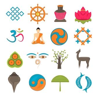 Buddhism icons set