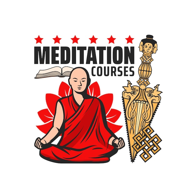 Buddhism meditation courses vector icon with isolated buddhist religion symbols. monk meditating in lotus position with endless or eternal knot, gold kila or phurba dagger and sutra book