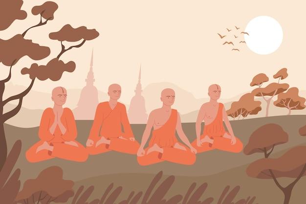 Composizione piatta nella religione buddista con sagome di paesaggi all'aperto delle torri del tempio e personaggi di illustrazione di lama seduti