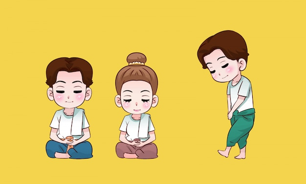 Buddhist boy and girl meditating thai cartoon