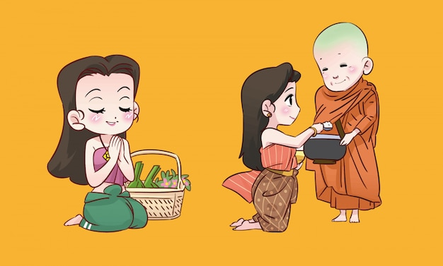 Buddhist girl and monk thai cartoon