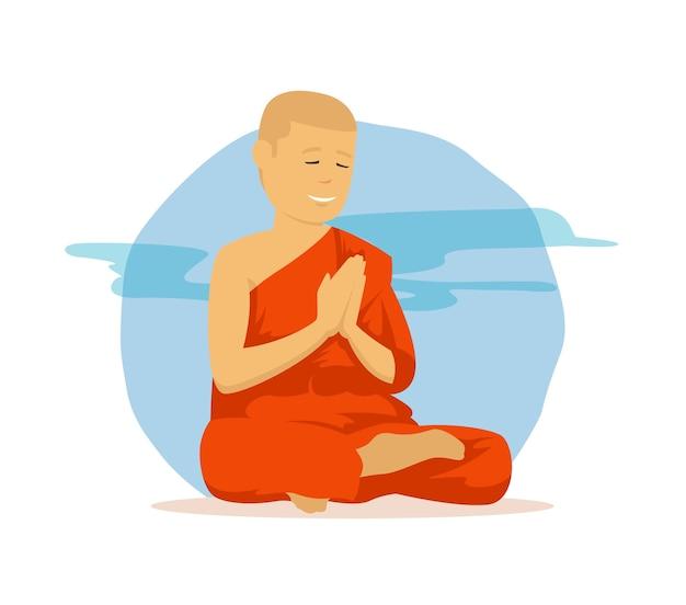 Буддийский монах молится с религиозной одеждой в азии