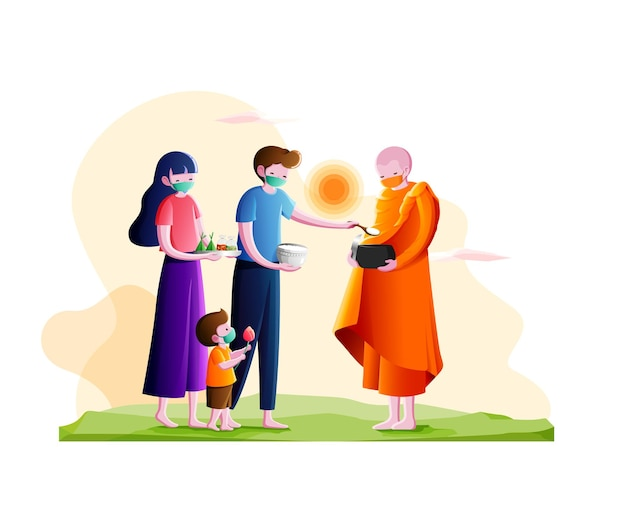 Buddhist monk holding alms bowl to receive food offering from couple and little boy in the morningm
