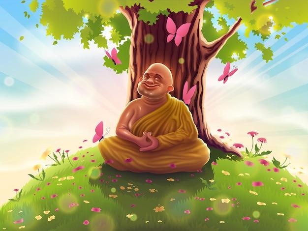 깊은 사마디 명상을 하고 노란색 옷을 입은 승려가 보리수 아래에 앉아 있습니다.
