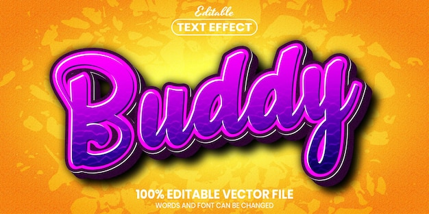 Buddy text, font style editable text effect
