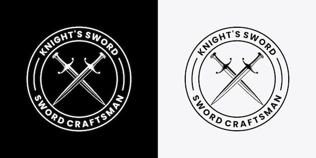 Budge knight sword logo design template